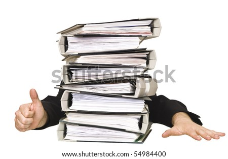 Human doing thumbs up behind a stack of Ring Binders