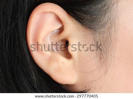 Human ear closeup - stock photo