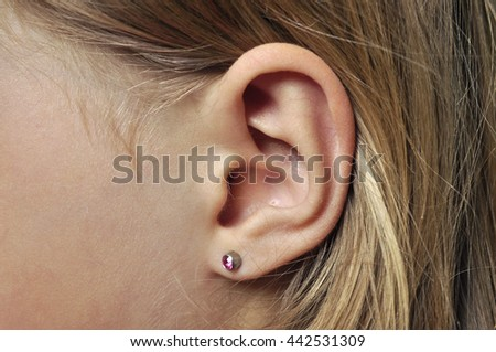 Human ear for hearing - stock photo