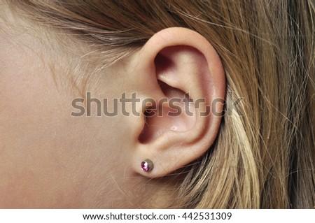 Human ear for hearing - stock photo