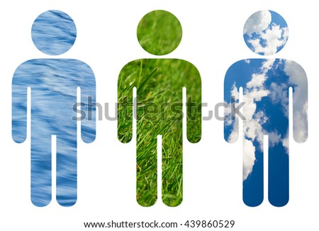 Human ecology - Icon of man filled with water, grass and bright sky with clouds. Balance and ecological relation between man and nature - preserving, cultivation. Isolated on white - stock photo