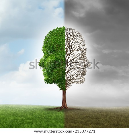 Human emotion and mood disorder as a tree shaped as two human faces with one half empty branches and the opposite side full of leaves as a medical metaphor for psychological contrast in feelings. - stock photo