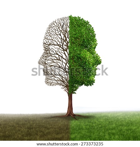 Human emotion and mood disorder as a tree shaped as two human faces with one half empty branches the opposite side full of leaves as a medical metaphor for psychological contrast in feelings white - stock photo