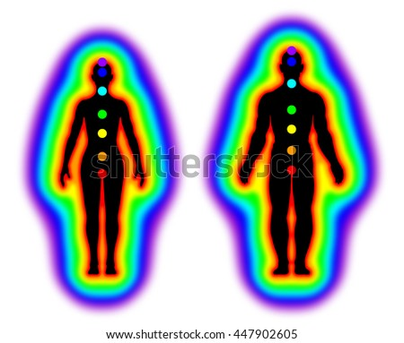 Human energy body - aura and chakras on white background - illustration - stock photo