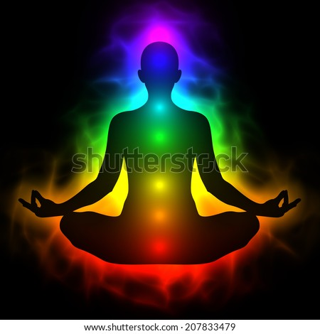 Human energy body, aura, chakra in meditation - stock photo