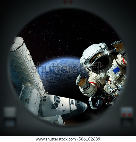 Human exploration of alien planet. Looking out of a window. Computer Illustration (Not 3D Render). 'Elements of this image furnished from NASA' (Shuttle/ISS/Astronaut)