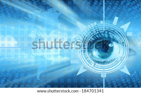 Human eye collage over technology futuristic background