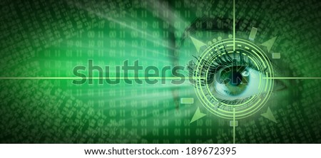 Human eye collage over technology futuristic background - stock photo