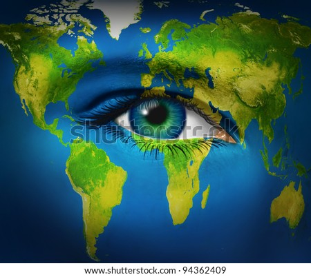 Human eye earth planet  as world vision for the future of children and global international business and politics as communications in internet connections as united nations of people in humanity. - stock photo