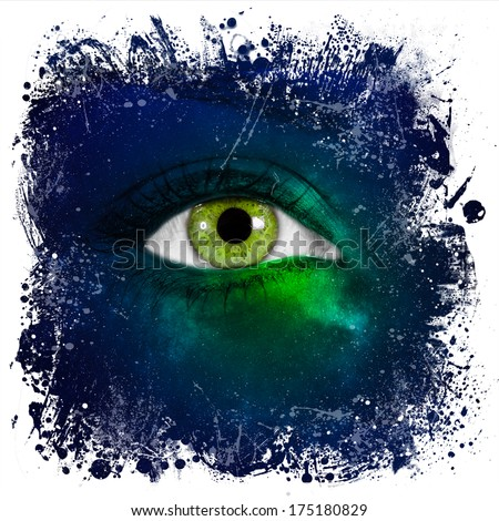 """Human eye looking in green Universe - """"Elements of this image furnished by NASA"""" - stock photo"""