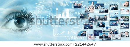 Human eye over abstract business background. Vision perspective - stock photo