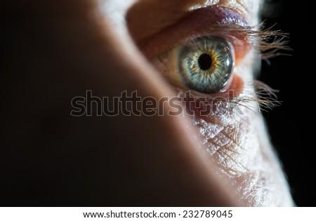 Human eye, super macro shoot. Selective focus. - stock photo