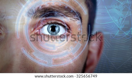 Human eye viewing digital information. Cyber technology concept - stock photo