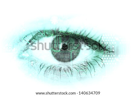 Human eye with circuit board on it's surface. - concept photo. - stock photo