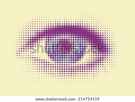 human eye with dots - retro style - stock photo