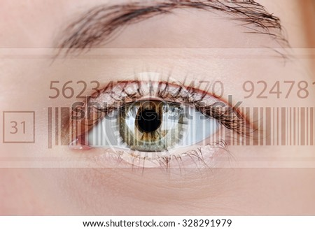 Human eye with integrated barcode