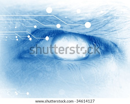 human eye with integrated circuitry in it - stock photo