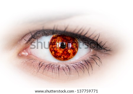 Human eye with planet inside. - stock photo