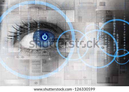Human eye with power button reflection inside - technology concept - stock photo