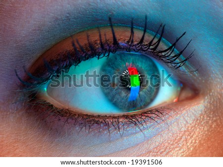 Human eye with RGB-signal reflection. Very high resolution. - stock photo