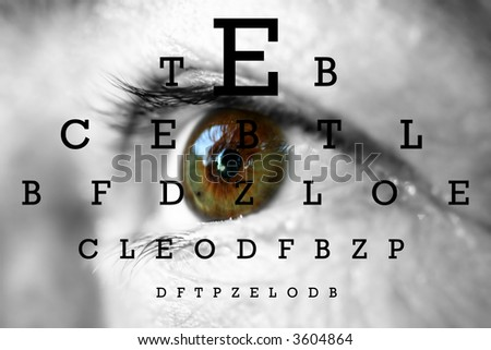 human eye with test vision chart