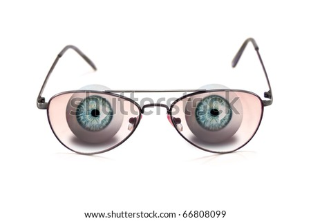 human eyes with glasses isolated on white - stock photo