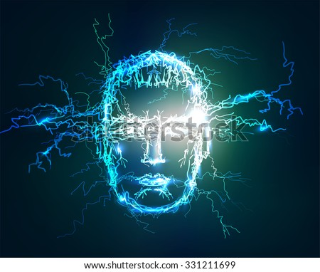 Human face. Abstract symbols collection made of Electric lighting effect.   - stock photo