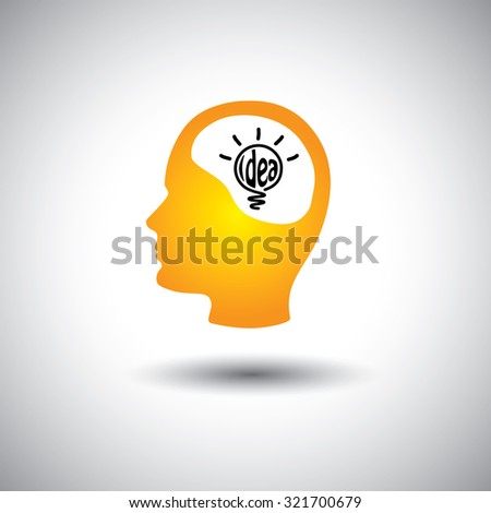 human face & brain with idea bulb - concept graphic icon. This graphic also represents problem solving, genius mind, clever person, smart thinking, inventive mind, innovative man, abstract thought - stock photo