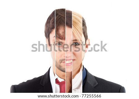 Human face made of several different people - stock photo