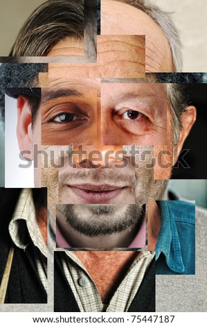 Human face made of several different people, artistic concept collage - stock photo
