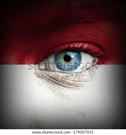 Human face painted with flag of Indonesia