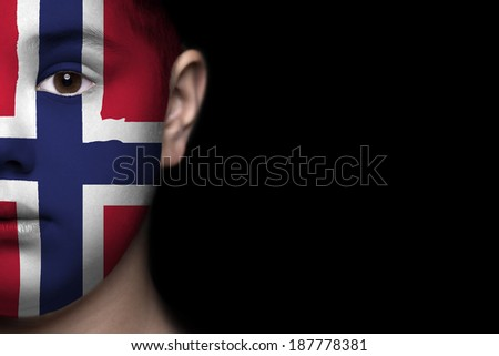 Human face painted with flag of Norway - stock photo