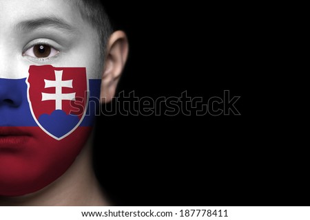 Human face painted with flag of Slovakia - stock photo