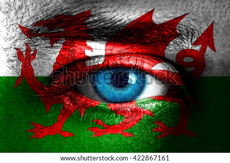 Human face painted with flag of Wales  - stock photo