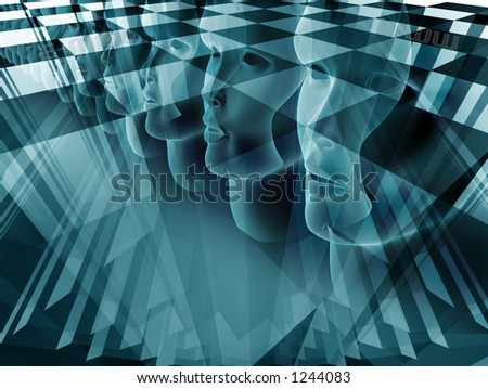 human face technology business composition with blending modes - stock photo