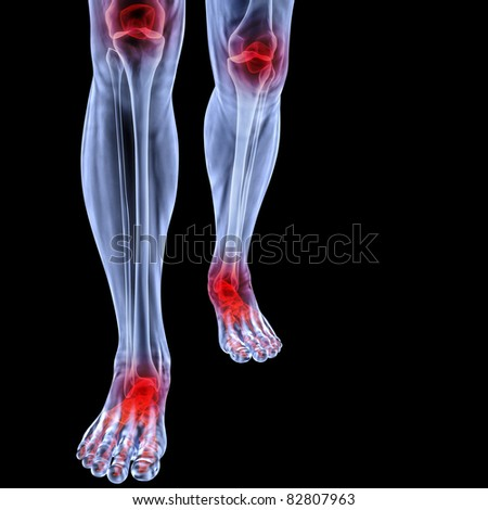 Human feet under X-rays. joints are shown in red. isolated on black. - stock photo