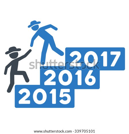 Human Figure Annual Help glyph icon. Style is bicolor flat symbol, smooth blue colors, rounded angles, white background.