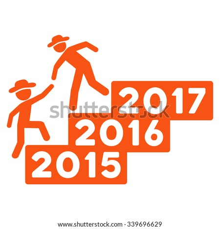 Human Figure Annual Help glyph icon. Style is flat symbol, orange color, rounded angles, white background.