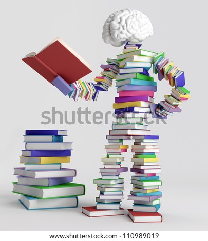Human figure consisting of books, holding an open book - stock photo