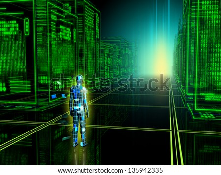 Human figure entering into a virtual reality. Digital illustration. - stock photo