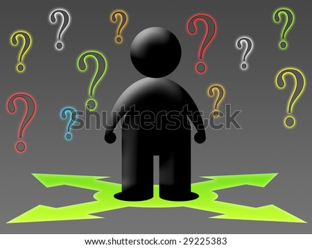 human figure in front of a choice - stock photo