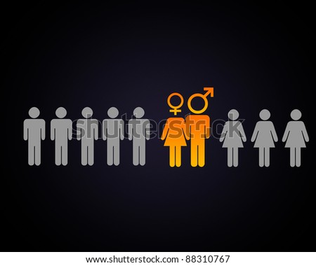 Human figures and symbols of social communication - stock photo