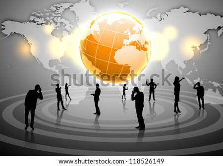 Human figures connected together in communication network - stock photo