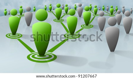 Human figures connected via a  network of connections. Connections could be social, business, marketing, or biological (pathogen, virus transmission) in nature - stock photo