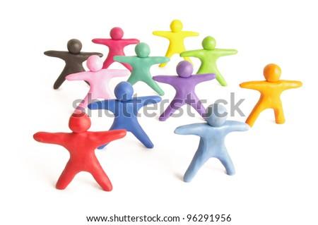 Human figures from plasticine - stock photo