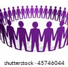 Human figures holding hands in a circle - stock vector