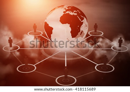 Human figures surrounding earth graphic against cloudy sky - stock photo