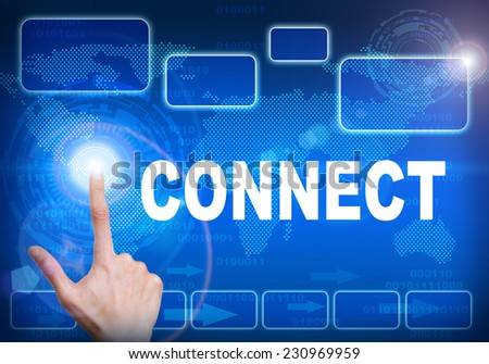 Human finger pressing high tech glowing modern connect interface touch screen button on abstract blue technology digital background - stock photo