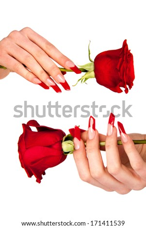 Human fingers with long fingernail and beautiful manicure isolated on white  - stock photo
