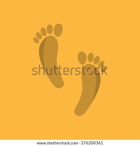 Human foot print web flat icon. - stock photo